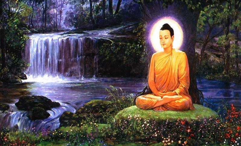 A person meditating on a patch of grass by a waterfall