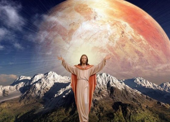 A picture of Jesus in front of a mountain range with a strange planet in the background