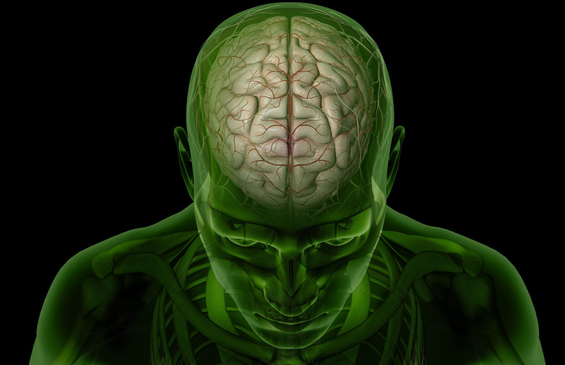 A closeup of a man with transparent green skin (his brain is visible)