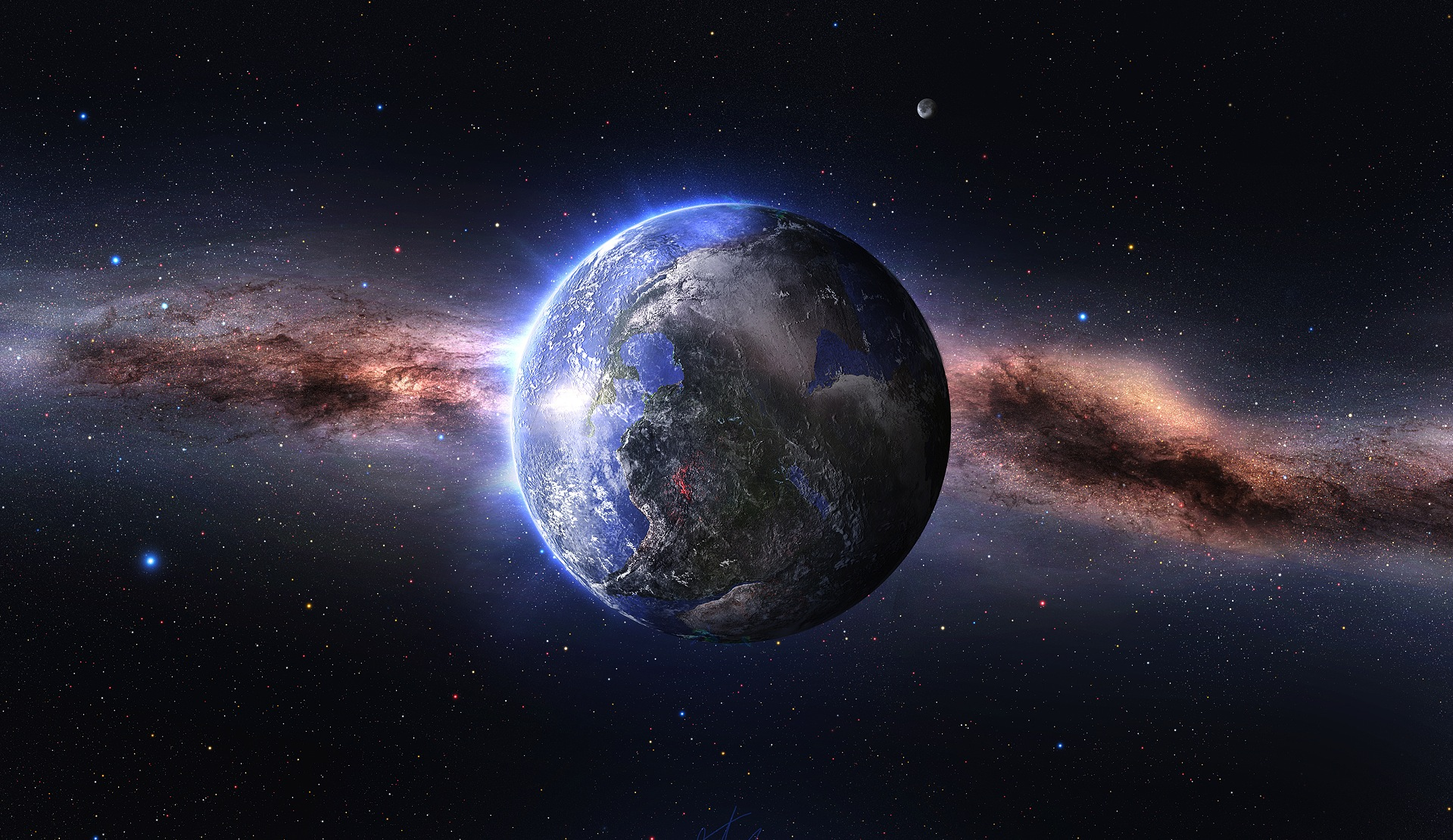 A picture of space with Earth at the centre