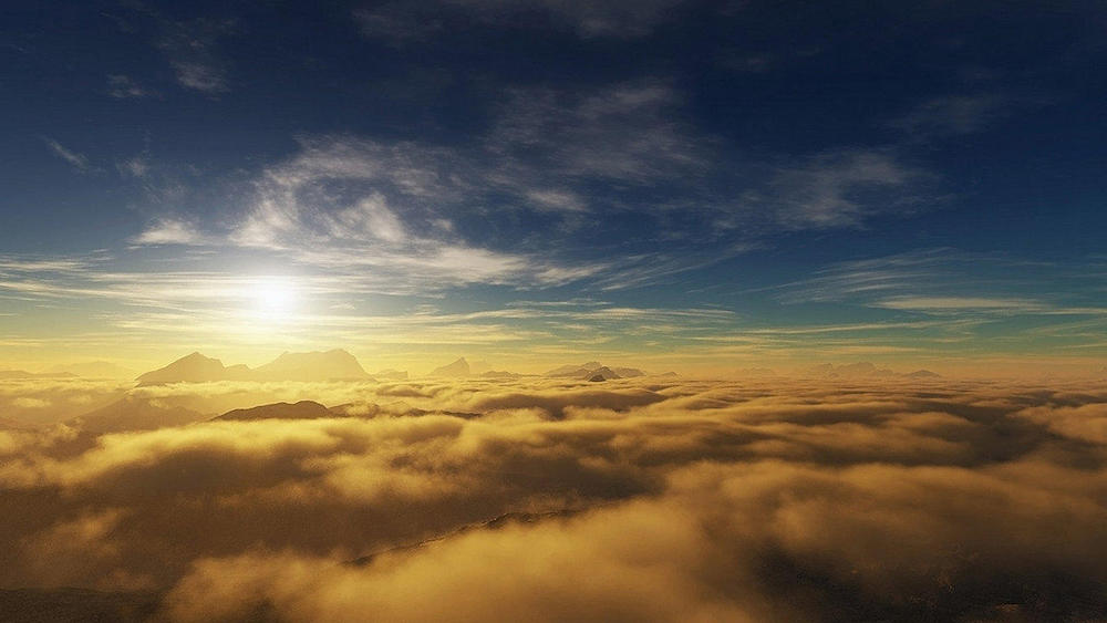 A picture of the sun from above the clouds