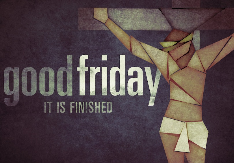 An abstract picture of Jesus with some Good Friday text