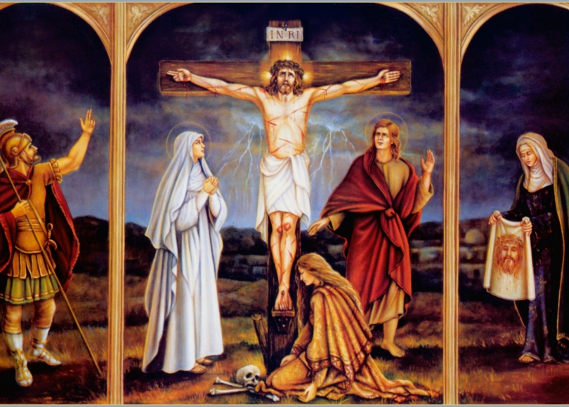 A painting of the crucifixion of Jesus