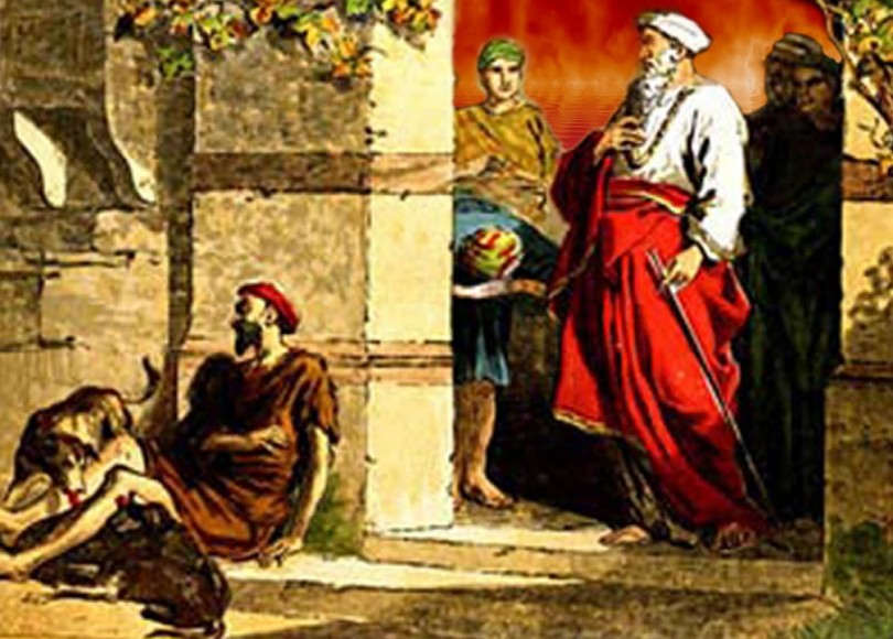 A painting of Lazarus and the rich man