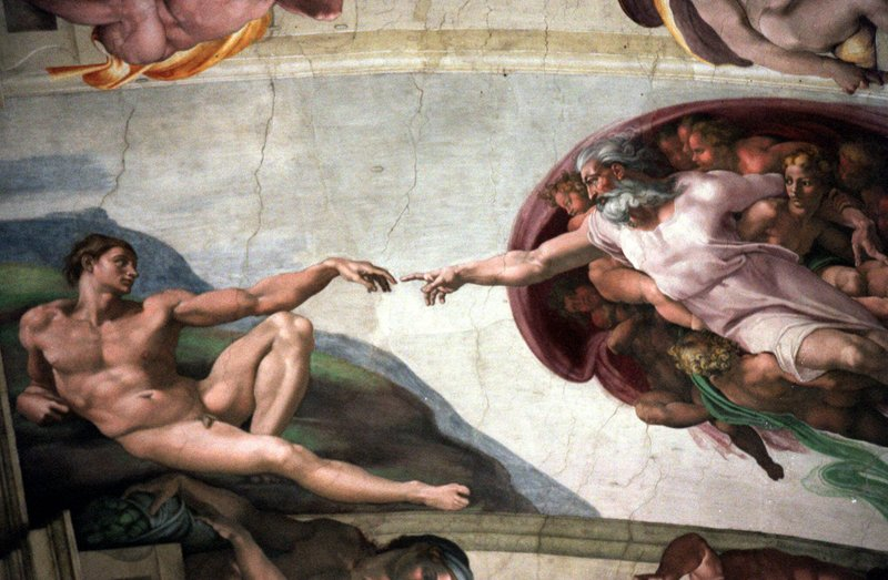 The painting 'The Creation of Adam' by Michelangelo