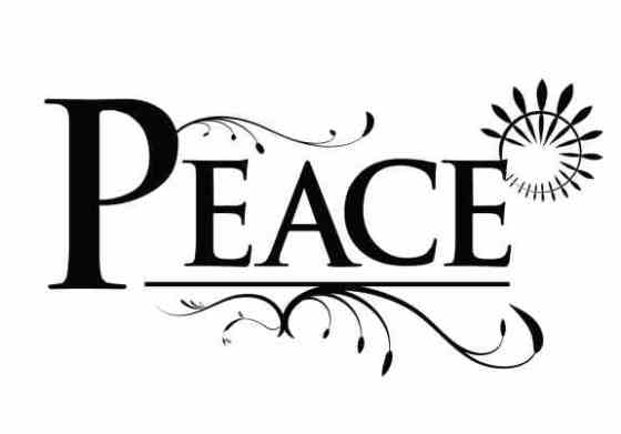The word 'peace' with ornate embellishments