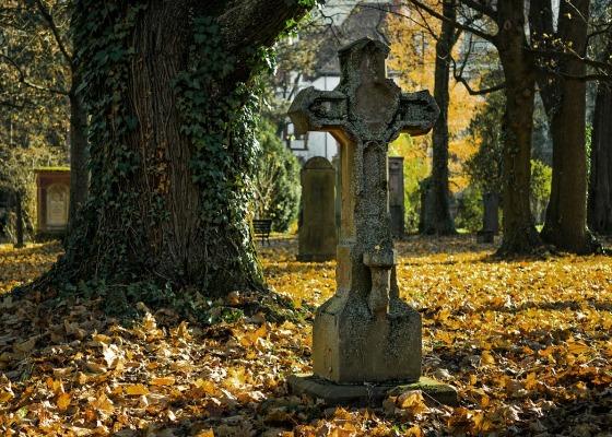 A graveyard on a sunny Autumn day