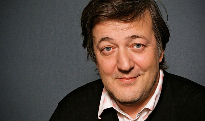 A portrait photo of Stephen Fry