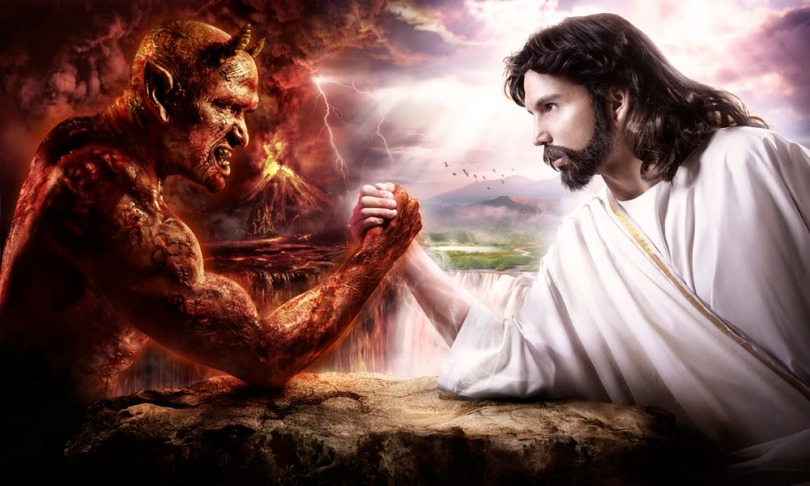 Jesus and Satan arm-wrestling