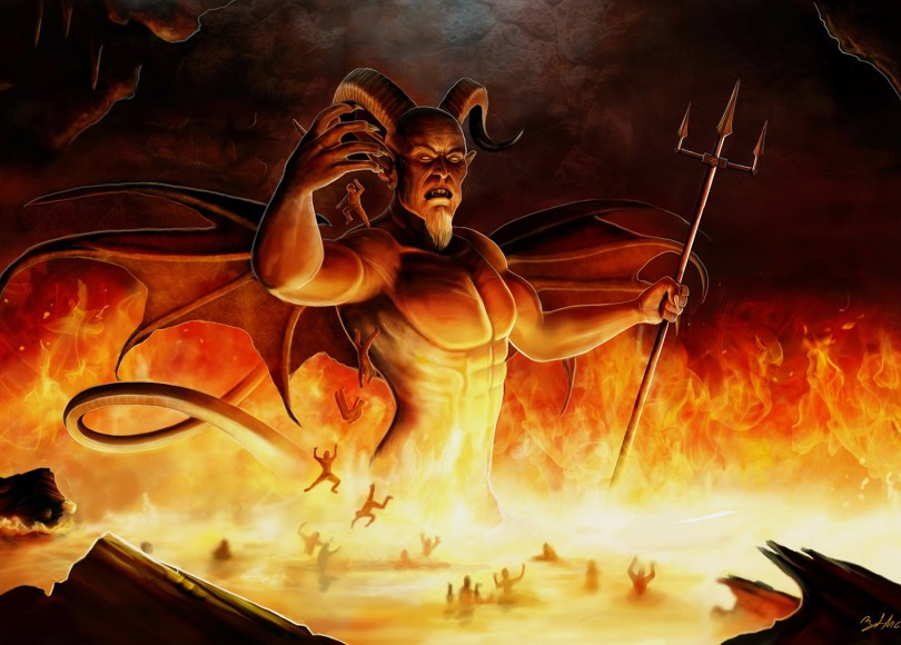 The devil stood above a lake of fire