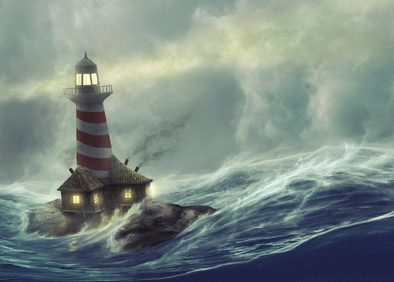 A lighthouse in stormy weather
