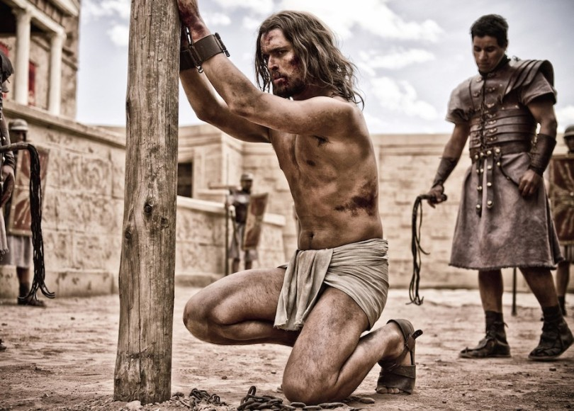 A depiction of Jesus chained up and about to be flogged