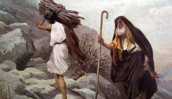 Abraham with a staff and Isaac carrying wood