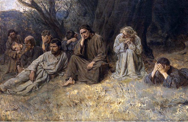 A painting depicting a group of people sat by a tree looking downcast and sad