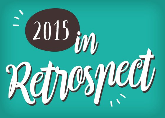 This image depicts the words '2015 in retrospect' on a green background