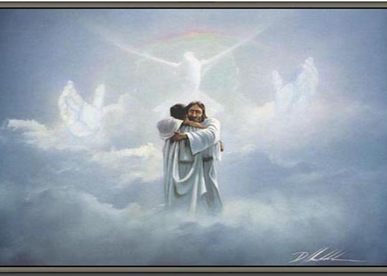 Jesus hugging a man in the clouds