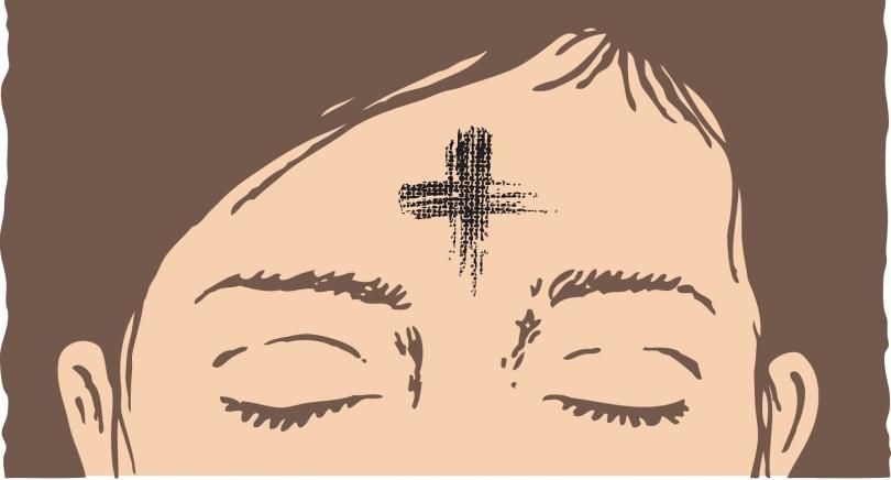 A cartoon depicting an ash cross on a woman's forehead