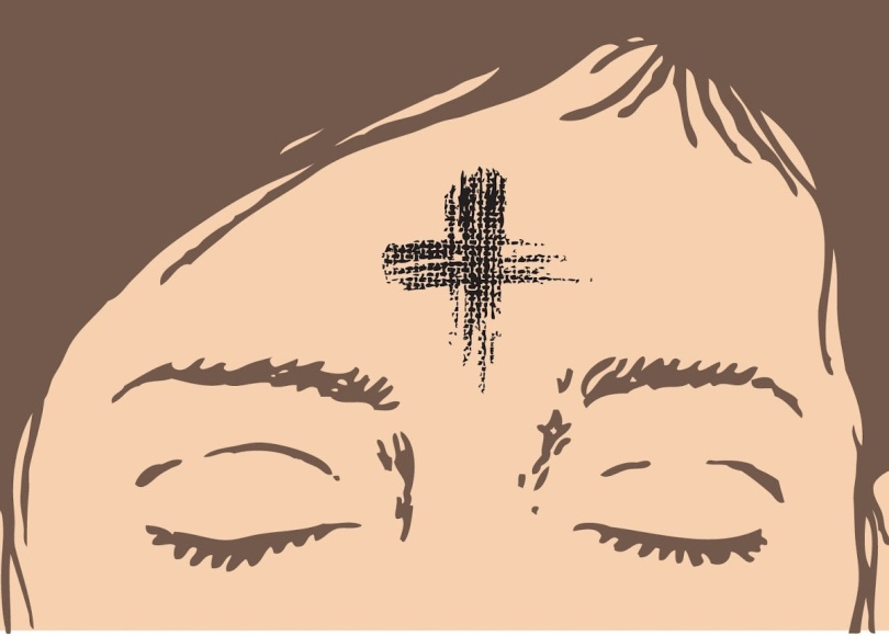 A cartoon depicting an ash cross on a woman's forehead
