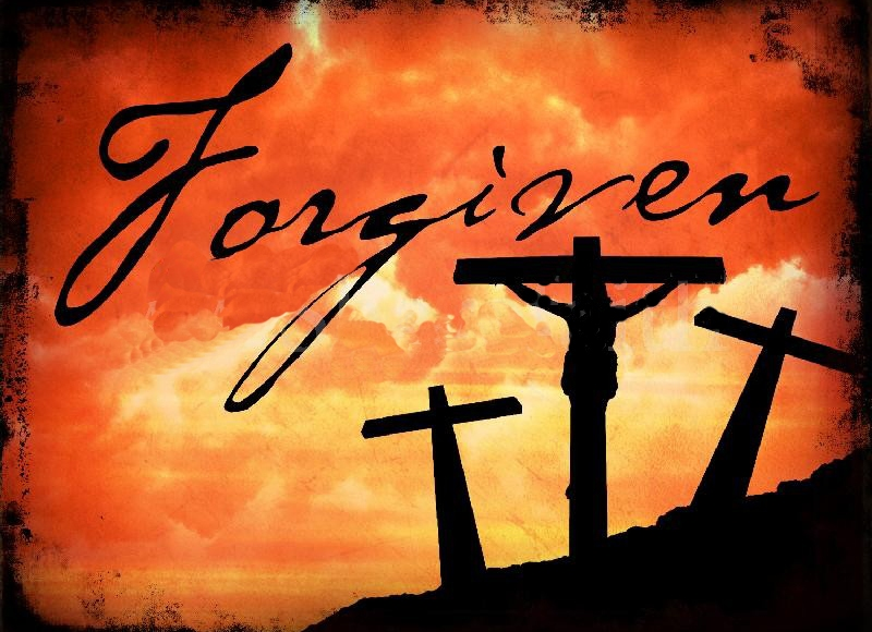 Three crosses with a man on the middle cross and red cloud in the background. The word 'Forgiven' is written above the crosses