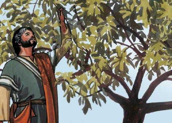 A cartoon-like painting of Jesus a tree