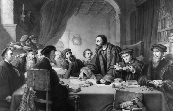 A black and white painting of John Calvin addressing those sat around a table