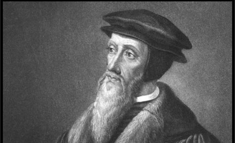 A black and white image of John Calvin