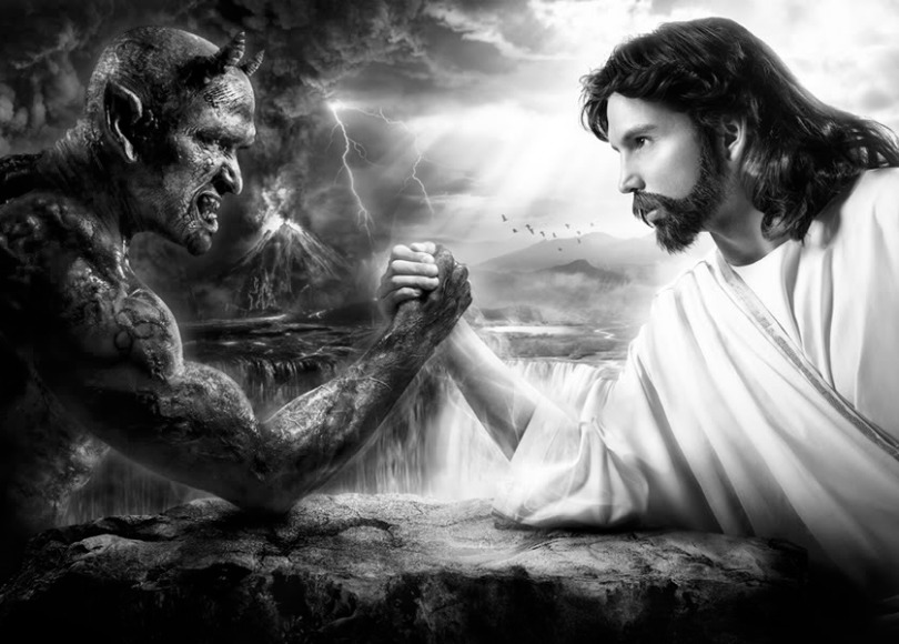 Jesus vs Satan black and white