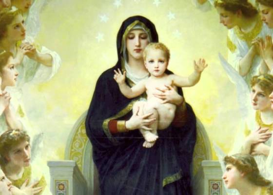 A painting of Mary holding Jesus with angels on the left and right