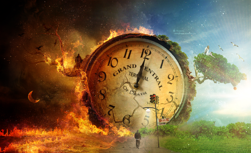 A giant clock with a hellish scene to the left and a heavenly scene to the right