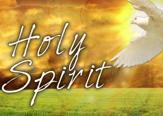 An image of a dove and the words 'Holy Spirit'
