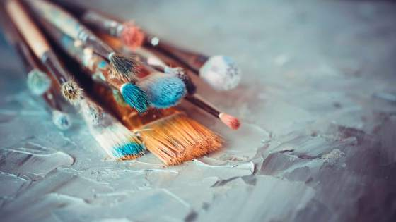 A selection of paint brushes