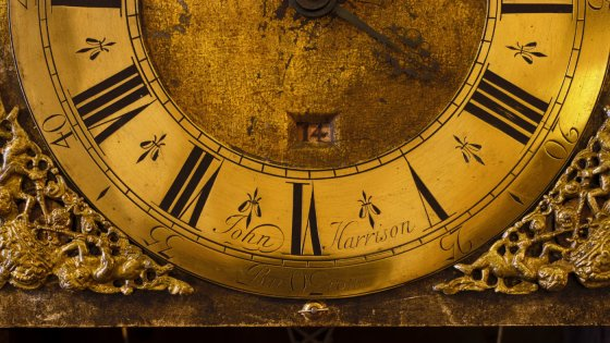 An old-fashioned gold clock face