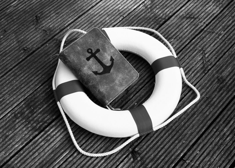Bible in life saver ring black and white