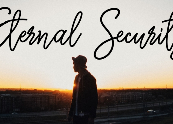 A silhouette of a man wearing a hat with the words 'Eternal Security' above him