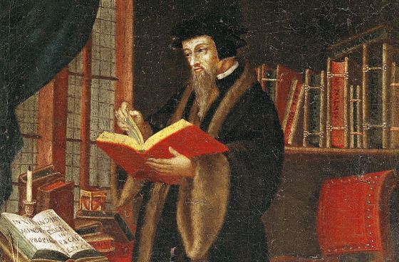 A painting of John Calvin holding a book