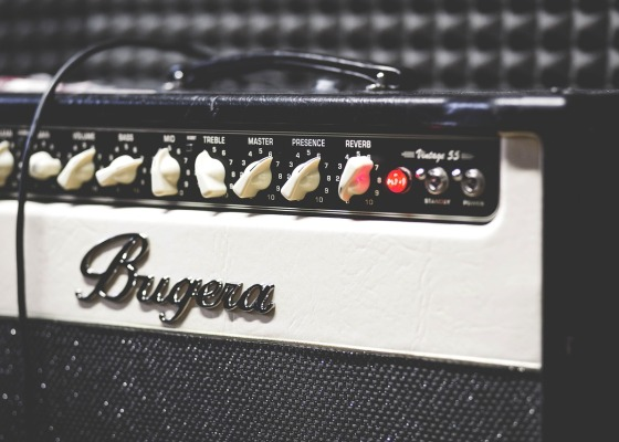 A black and white Bugera amplifier