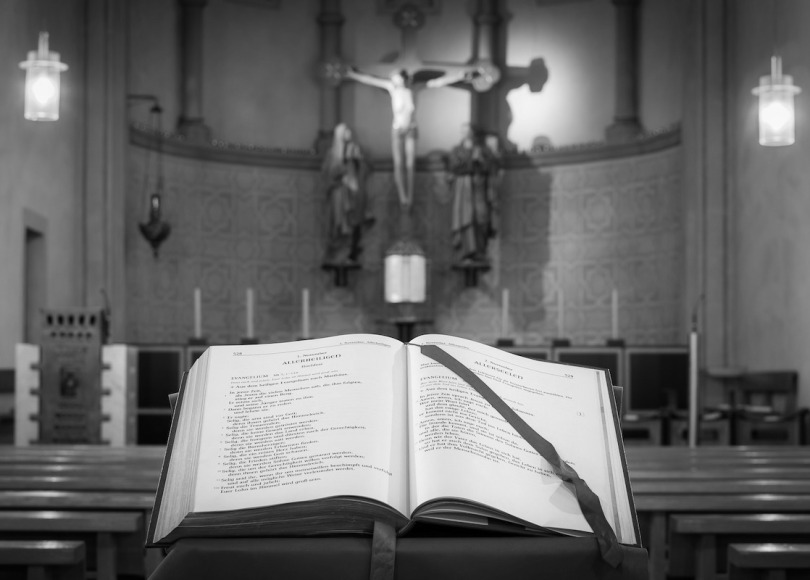 Bible in church black and white