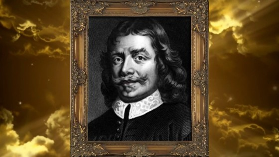 A framed picture of John Bunyan with a cloudy sky in the background