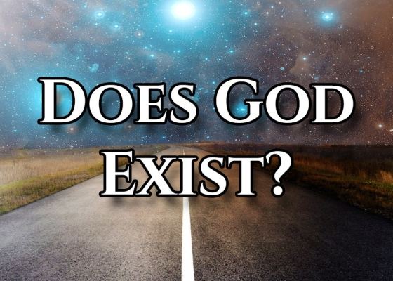 A starry sky above a road and the words 'Does God Exist?' on top of the image
