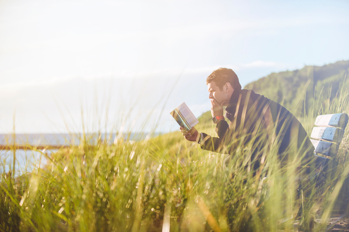 A man sat on a bench reading a book with tall grass in the foreground