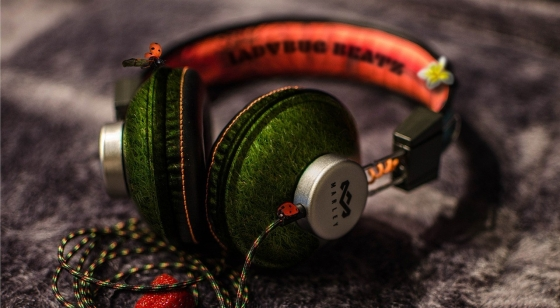 A set of green and orange headphones