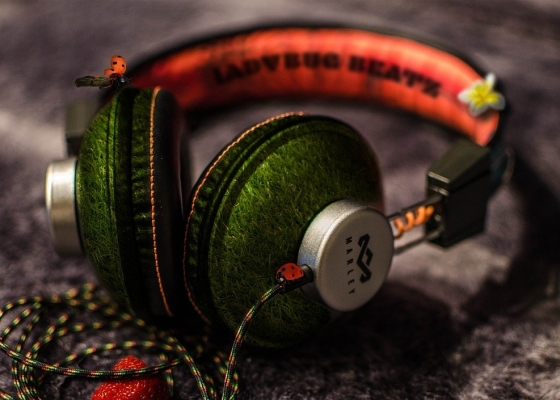 A set of green and orange headphones