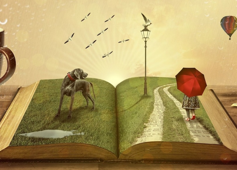 A painting of an open book with a dog and a girl with an umbrella on its pages