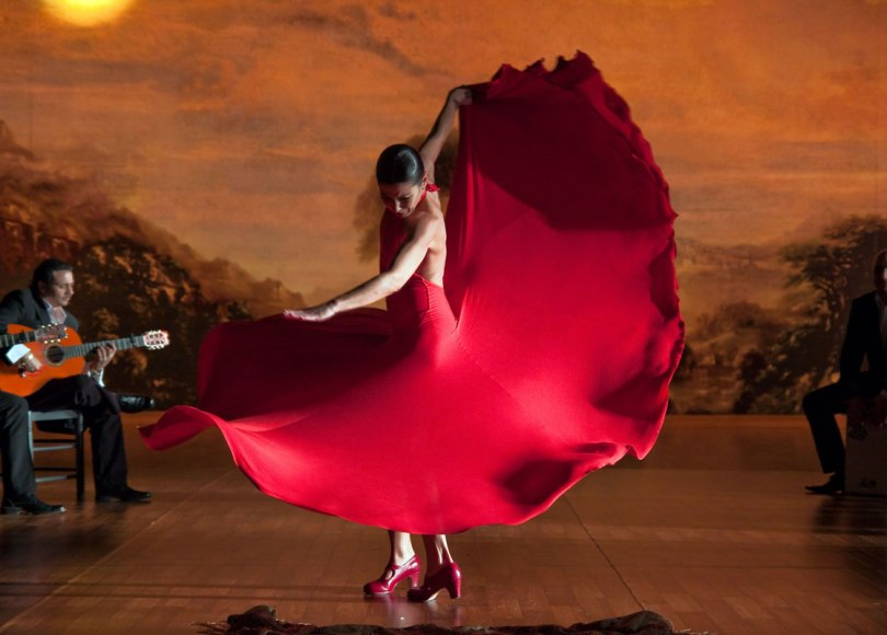A woman dancing Flamenco