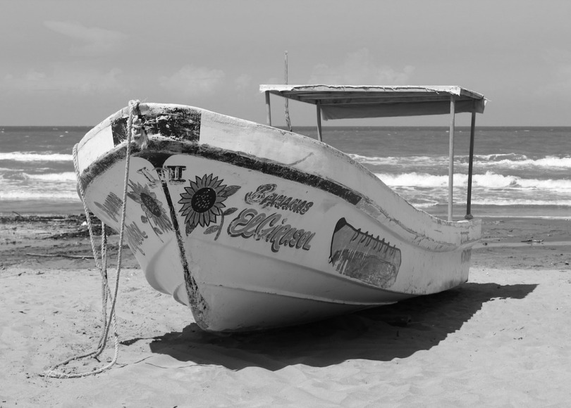 Mexican fishing boat black and white