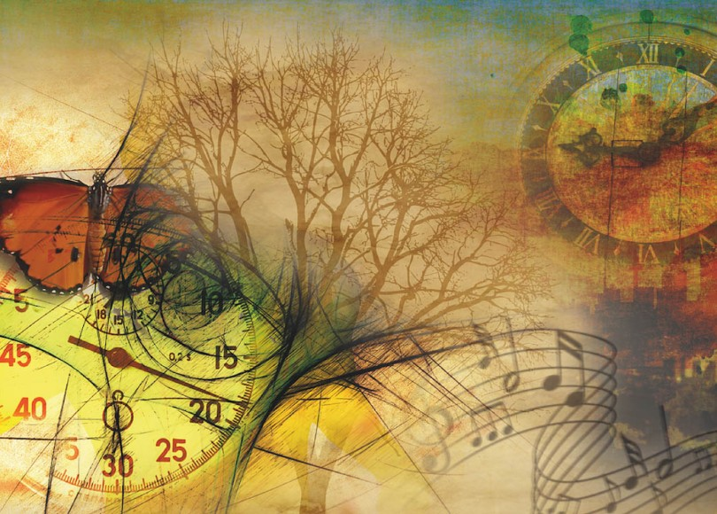 An abstract collage featuring clocks, a tree, a butterfly, and more