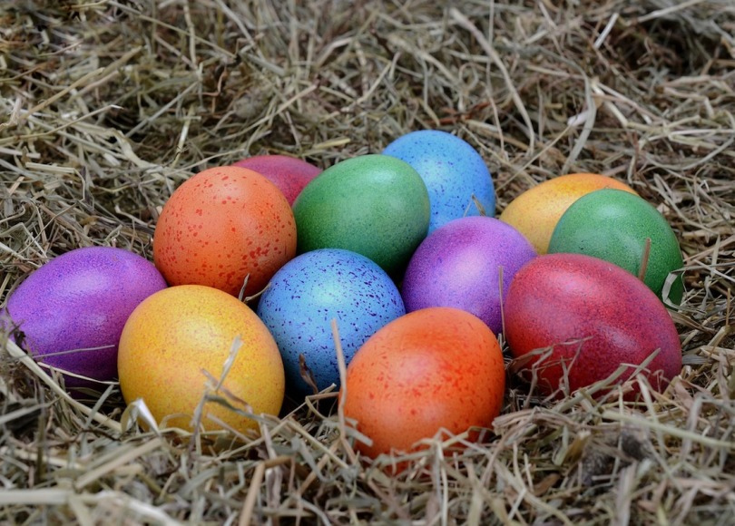 Easter eggs of all different colours on a bed of straw