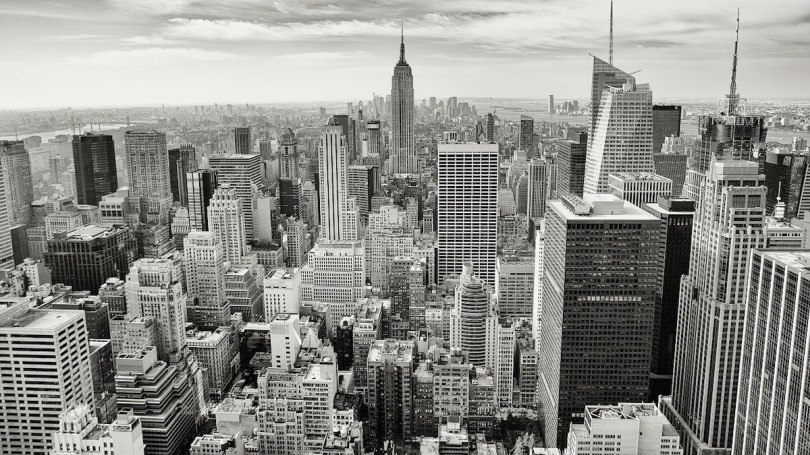 A black and white picture of Manhattan in the USA