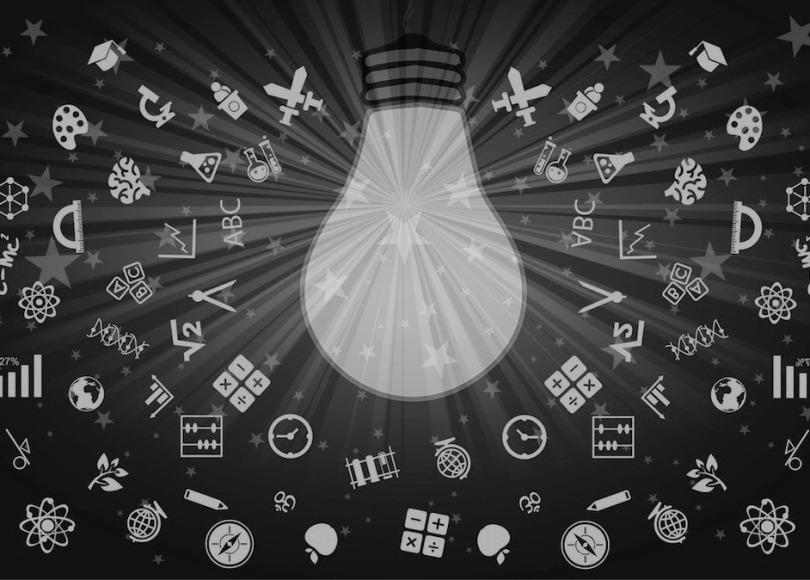 Learning lightbulb black and white