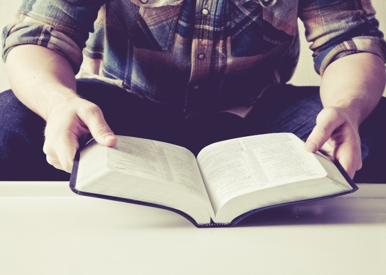 A man wearing a shirt reads an open Bible
